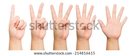 people count by finger 1 to 5 front and back - stock photo