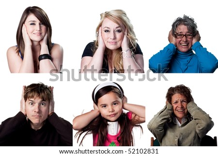 People covering their ears for different reasons - stock photo