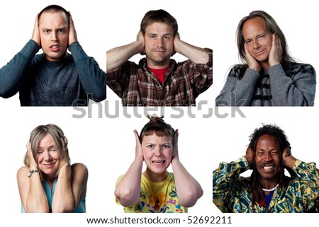 People covering their ears for different reasons