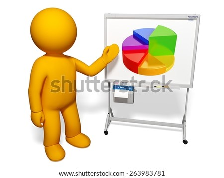 People. 3D. Graph Chart - stock photo