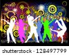 People dancing on a colorful background. Raster - stock vector