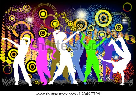 People dancing on a colorful background. Raster - stock photo