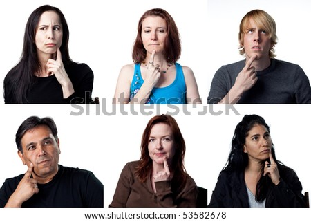 People deep in thought, with fingers on chin - stock photo