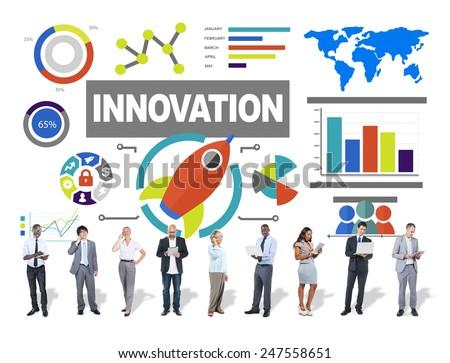 People Digital Device Creativity Growth Success Innovation Concept - stock photo