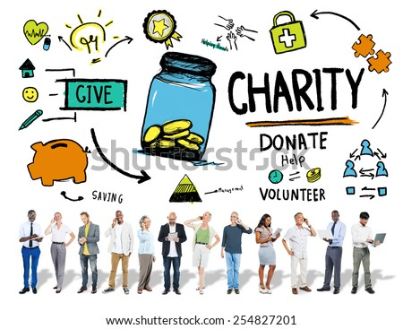 People Digital Devices Give Help Donate Charity Concept - stock photo