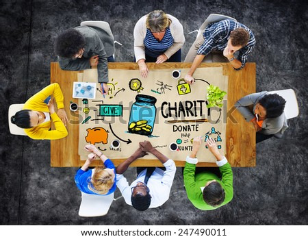 People Discussion Meeting Give Help Donate Charity Concept - stock photo