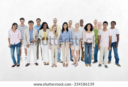 People Diversity Casual Group Ethnicity Community Concept - stock photo