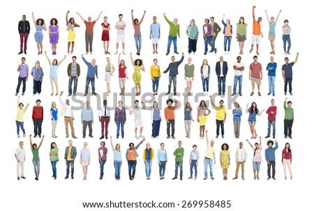 People Diversity Success Celebration Happiness Community Crowd Concept - stock photo