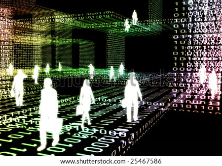 People doing business activity in virtual internet world - stock photo