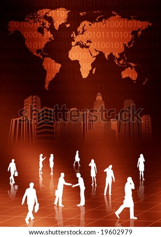 People doing business activity in virtual world - stock photo