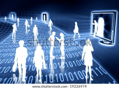 people doing business activity in virtual world of internet.