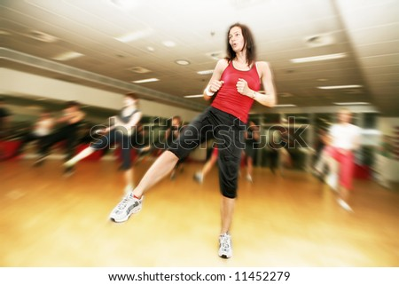 People doing sport exercise - stock photo