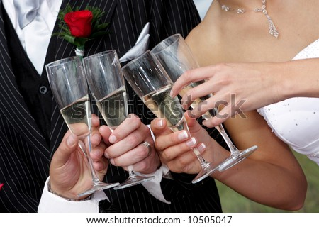 People drinking champagne with wedding couple - stock photo