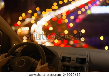 People driving car in night