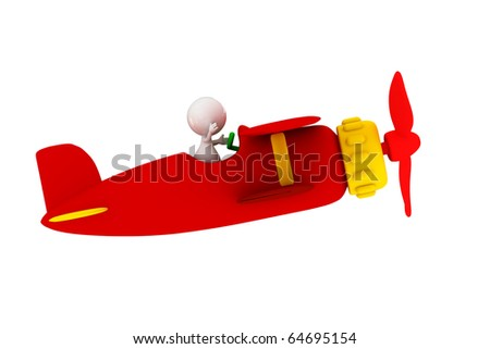people Driving toy airplane, 3D rendering - stock photo