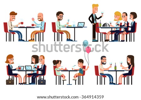 People eating and talking - stock photo