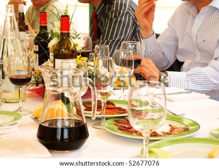 people eating in a restaurant - stock photo