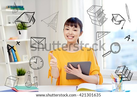 people, education, high school and learning concept - happy asian young woman student with tablet pc computer, book and notepads writing at home with doodles - stock photo