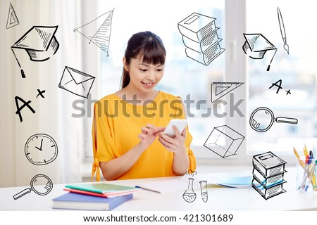 people, education, high school, technology and learning concept - happy asian young woman student with smartphone texting message at home with doodles - stock photo