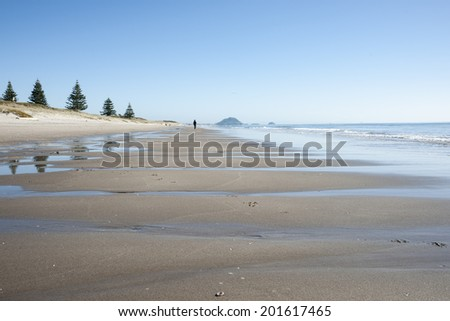 People enjoying a fine winter day at a scenic beach on June 29, 2014 at Tauranga, New Zealand. - stock photo