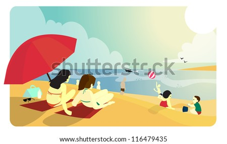 People enjoying a sunny day at the beach. - stock photo