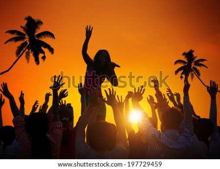 People Enjoying Music Festival Outdoors