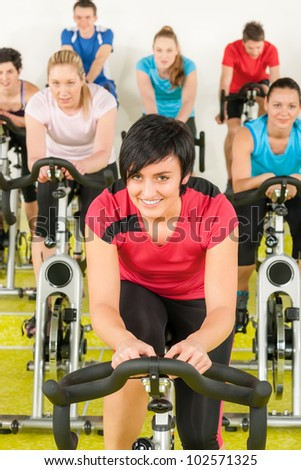people exercise at gym enjoy workout - stock photo