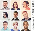 People faces collage. Diverse men and women isolated. - stock photo