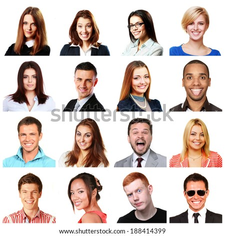 People faces collage. Men and women portraits isolated. Diversity.  - stock photo