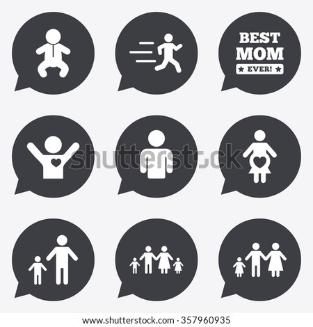 People, family icons. Maternity, person and baby signs. Best mom, father and mother symbols. Flat icons in speech bubble pointers.