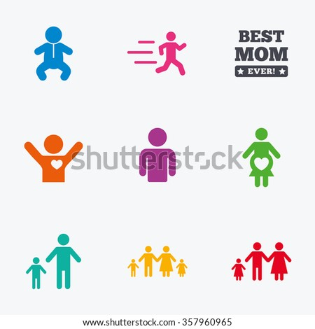 People, family icons. Maternity, person and baby signs. Best mom, father and mother symbols. Flat colored graphic icons.