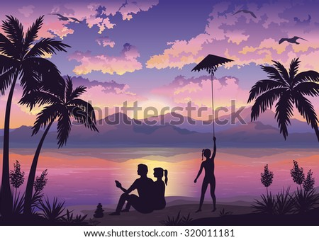People, Family on Tropical Beach with Palms, Mother and Father Looking at the Landscape and Daughter Launching Kite, Sun, Seagulls and Clouds into the Sky