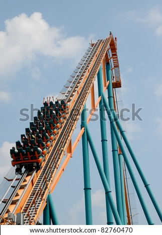 People feeling the G-Force of a rollercoaster at amusement park Georgia, Usa - stock photo