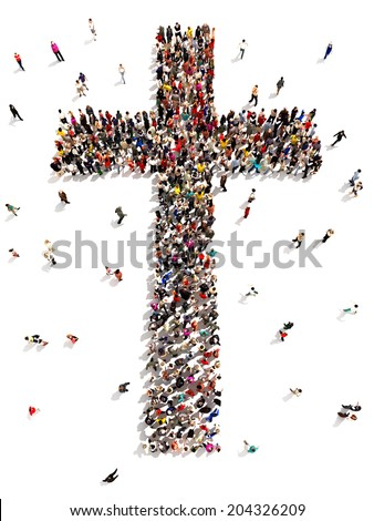 People finding Christianity, religion and faith. Large group of people walking to and forming the shape of a cross on a white background.  - stock photo