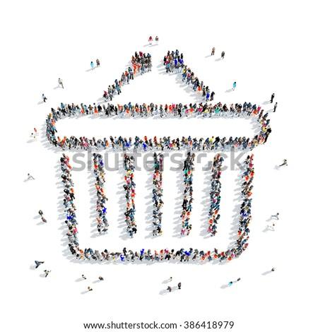 people  food basket icon - stock photo