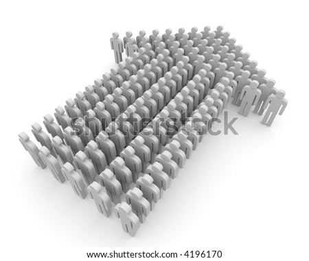People form up in arrow - stock photo