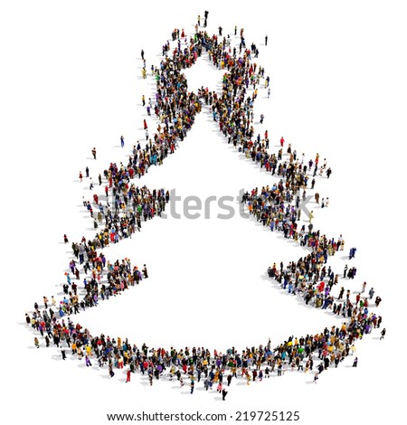 People forming the Christmas tree shape on white background - stock photo