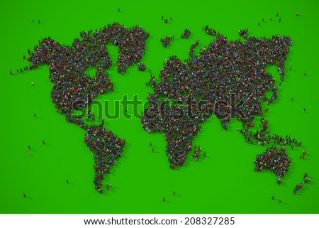 People forming the earth map shape on green background - stock photo