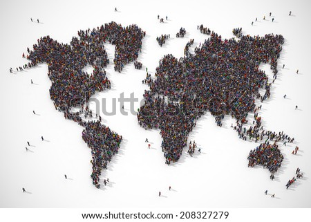 People forming the earth map shape on white background - stock photo