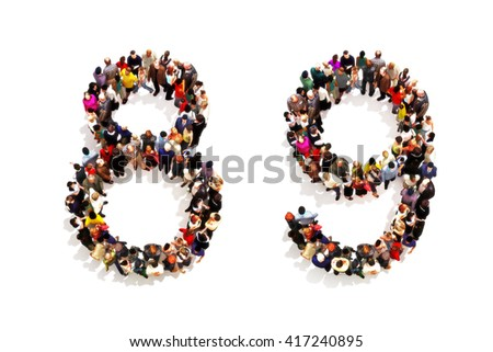 People forming the shape as a 3d number eight (8) and nine (9) symbol on a white background. 3d rendering - stock photo