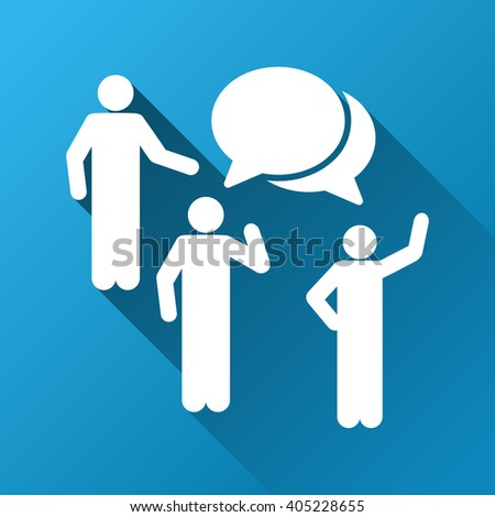 People Forum glyph toolbar icon for software design. Style is a white symbol on a square blue background with gradient long shadow. - stock photo
