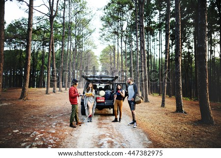 People Friendship Hangout Traveling Destination Camping Concept - stock photo