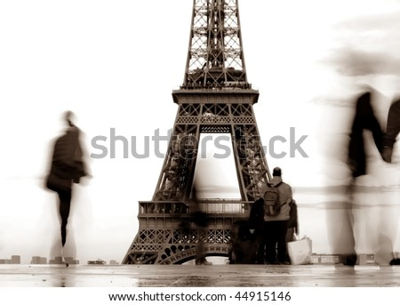 people front of Eiffel Tower in france-2 - stock photo