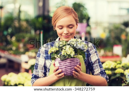 people, gardening and profession concept - happy woman or gardener smelling flowers in greenhouse - stock photo