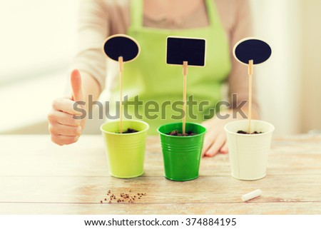 people, gardening, seeding and profession concept - close up of woman over pots with soil and signs - stock photo