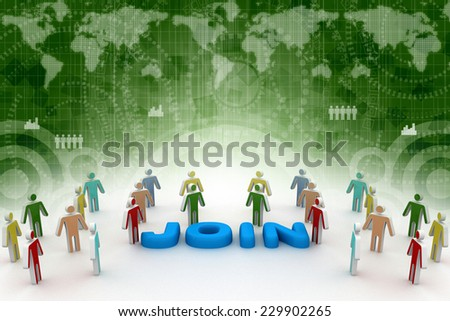 People gather around word as invitation for new members to join a social group or business team - stock photo