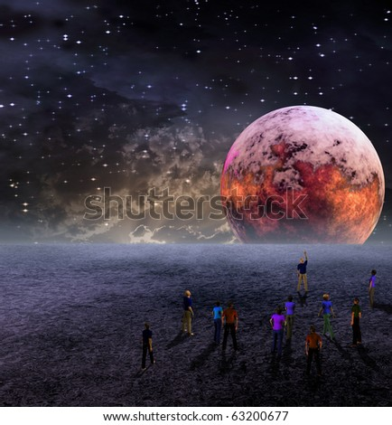 People Gather to View Moon - stock photo