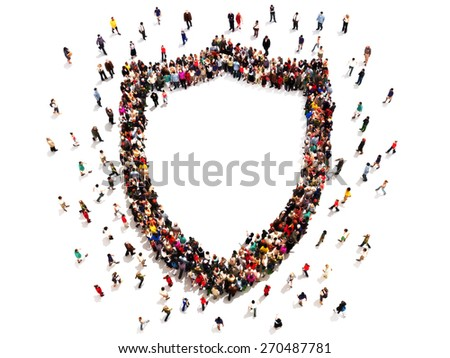 People getting security or protection. Large group of people in the shape of a shield with room for text or copy space isolated on a white background. - stock photo