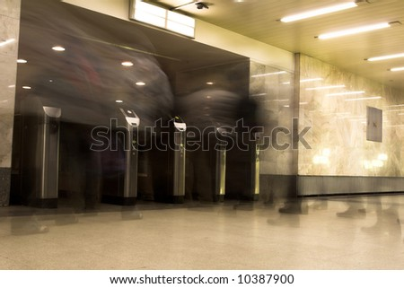 people going out Moscow metro - stock photo