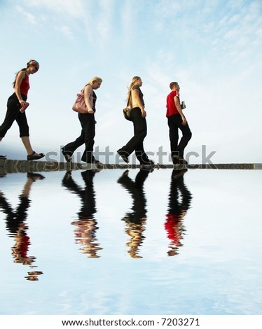 People going up on river bay - stock photo